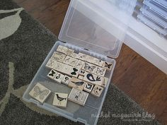 Space-saving-easy-to-see-wood-block-rubber-stamp storage idea! Genious!