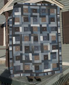 Jean and Corduroy Quilt | Greens and Jeans. Notice the double border.