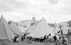 Setting-up Tent City Providing Housing. Margaret Bourke White, Outdoor Gear, Trek, South Africa, 19th Century, Country, City, Rural Area, Outdoor Tools