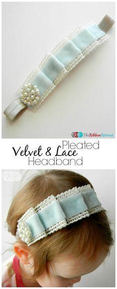 Pleated Velvet and Lace Headband Tutorial Diy Ribbon, Ribbon Crafts, Ribbon Bows, Ribbon Flower, Ribbon Hair, Ribbons, Diy Crafts, Headband Tutorial, Diy Headband