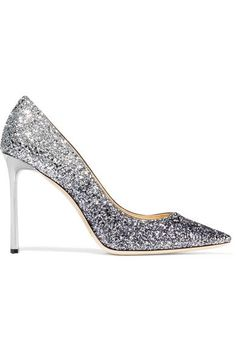 Heel measures approximately 100mm/ 4 inches Silver and gunmetal glittered leather Slip on Made in Italy
