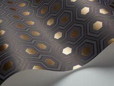 Cole and Son - Tapete Hicks Hexagon Wallpaper - Soot & Metallic Bronze auf Grey 95/3015