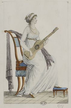 Copperplate print of a lady playing the guitar, 1797