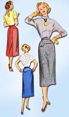 1950s Vintage Slender Skirt Gr8 Lines Unused 1953 McCall's Sewing Pattern 24 W