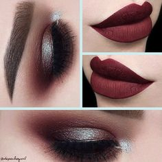 Berry lips and smokey eyes with sparkling eyeshadow is perfect for holiday season. Check out our christmas makeup ideas!