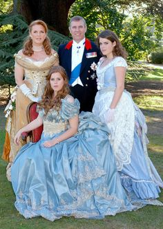 Prince Andrew, ex-wife Sarah Ferguson (Duchess of York from & their daughters, Princess Beatrice of York; Princess Eugenie of York (cousins to Princes William & Harry). Their costumes for Bea's birthday, the theme was 1888 as Bea was born in Princesa Diana, Princesa Eugenie, Princesa Real, Sarah Ferguson, Prince Andrew, Prince Phillip, Duchess Of York, Duke And Duchess, Duchess Kate