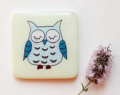 FREE SHIPPING Owl magnet gift Animal fridge magnet Cute magnet neodymium magnets Glass magnet (0059), kitchen magnet