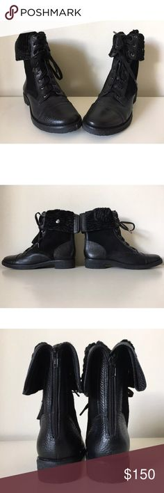 Diane Von Furstenberg DVF Alexia Shearling Boots Size 9.5  Leather upper, shearling lining, and crepe rubber sole.  Overall, it's a stunning and stylish piece!  Store display. White marks on the shoes. Scuffing on the leather. Diane Von Furstenberg Shoes Lace Up Boots
