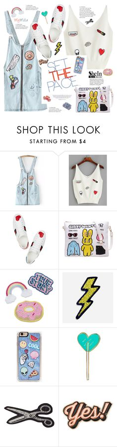 """""""Shein: White Applique V Neck Tank Top"""" by mymilla ❤ liked on Polyvore featuring Gucci, Hipstapatch, Zero Gravity, Kreepsville 666, Olympia Le-Tan, Anya Hindmarch and Diane Von Furstenberg"""