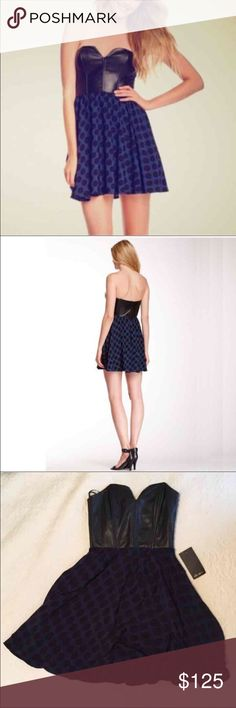 """$250 Faux Leather Polka Dot Dress Sweetheart neck. Strapless. Back zip closure. Faux leather bustier top. Princess seaming. Polka dot pleated skirt. Lined. Approx. 29"""" length. MSRP $248. Brand New Never Worn with Tags. Shell: 100% Rayon Trim: 100% PU. Care: Dry clean. Fit: this style fits true to size. Ella Moss Dresses Strapless"""