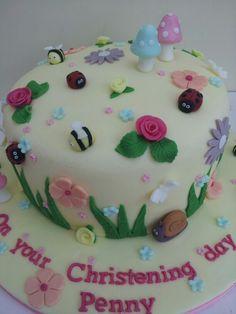 Vintage garden christening cake