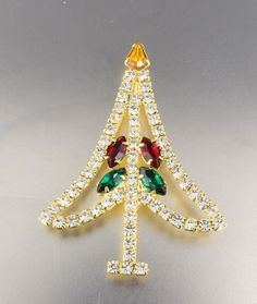 VINTAGE GOLD TONE CRYSTAL GLASS RHINESTONE CHRISTMAS TREE BROOCH PIN  | Jewelry & Watches, Vintage & Antique Jewelry, Costume | eBay!