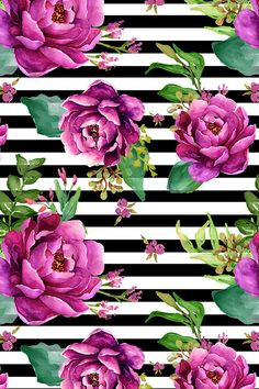 Pink Sunrise - Black and White Stripes by shopcabin - Bright purple hand painted flowers on a black and white striped background on fabric, wallpaper, and gift wrap.