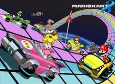 Rainbow Road (Mario Kart by lyndonpatrick Mundo Super Mario, Super Mario Kart, Pink Gold Peach, Halloween Cubicle, Mario Kart Games, Mario And Princess Peach, Copic Markers Tutorial, Rhythm Games, Drawing Games