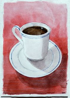 Coffee Cup, Teacup, 5 x 7, Small Watercolor Painting, Kitchen Painting, Red