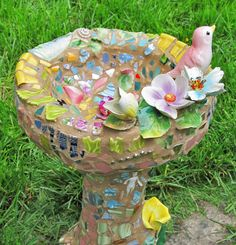 Mosaic Bird Bath by Melissa Miller -kitchey, but cute. A good way to use those old nick-nacks that are gathering dust in the hutch!