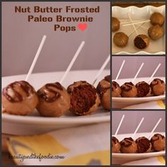 Paleo Nut Butter Frosted brownie Pops with low carb version. / beautyandthefoodie.com