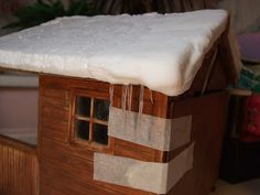Michelle's Mad World: Winter Cabin - Let it snow, let it snow...and a little ice too!  Icicles and snow for the dollhouse