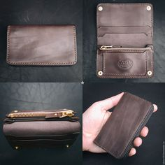"Photo from album ""чехол брянск"" on Yandex. Leather Wallet Pattern, Handmade Leather Wallet, Leather Gifts, Leather Craft, Leather Men, Man Purse, Passport Wallet, Minimalist Wallet, Leather Projects"