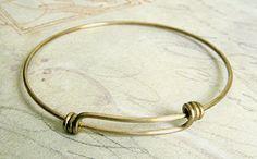 Raw Brass Adjustable Bangle Bracelet by DecadentBrassGlass on Etsy