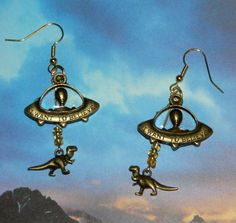 Alien Abduction Dinosaur Earrings, UFO, Extraterrestrial Jewelry Velociraptor $14