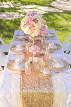 table setting for shower