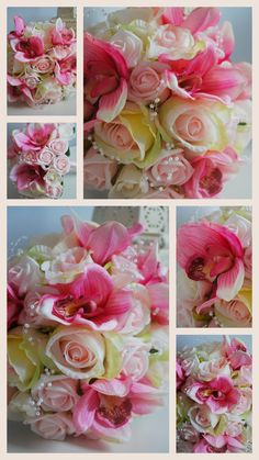 Pink Orchid and rose limited edition silk brides bouquet