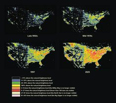 The increase in artificial night sky brightness in North America, including an extrapolated prediction for light pollution levels in Maps created by P. Cinzano, F. Falchi, and C.