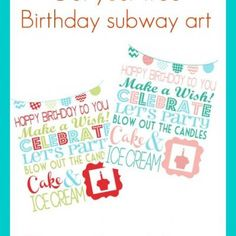 Free Birthday Subway Art