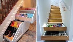 Guardar zapatos en la escalera