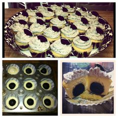 Oreo balls inside of a cupcake with a cookies & cream icing