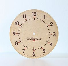 Vintage Clock Face  Western Union by bellalulu on Etsy