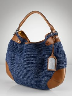 Claridge Straw & Leather Hobo - Lauren Handbags - Ralph Lauren France