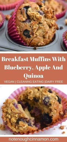 qThese vegan apple, blueberry, quinoa breakfast muffins will leave your belly full and content, ready to fuel your hustles of the day and conquer the world. Healthy Breakfast Muffins, Clean Eating Breakfast, Vegan Breakfast Recipes, Healthy Dessert Recipes, Breakfast Buffet, Breakfast Ideas, Dairy Free Breakfasts, Cinnamon Recipes, Blue Berry Muffins