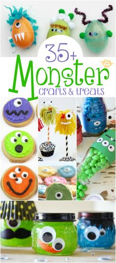 Monster Crafts & Treats - loads of ideas for monster party food and decorations. Monster Party, Monster Birthday Parties, Monster Food, Monster Mash, Monster Themed Food, Boy First Birthday, First Birthday Parties, Birthday Party Themes, First Birthdays