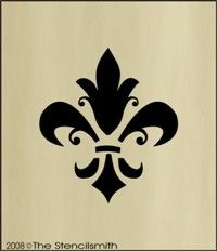 #369 STENCIL Fleur De Lis damask wall floral decorative..... I'm thinking this in a gloss on a flat wall would look pretty in your colors