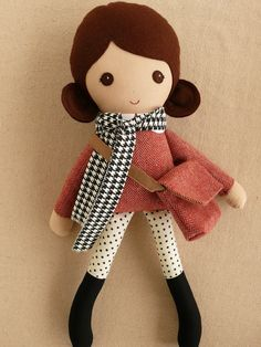 Fabric Doll Rag Doll Brown Haired Girl in Red Tweed Dress and Polka Dotted Leggings