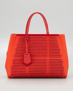 Fendi 2Jours Studded Neoprene Medium Tote Bag, Red $3590.00