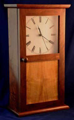 Shaker Style Clock in walnut and birch by ReynoldsWoodcraft, $89.00