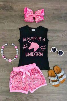 "Pink ""Always Be a Unicorn"" Sequin Short Set"