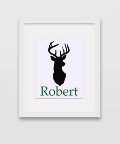 Personalized Deer Head Print 8x10 Silhouette by CleopatrasPearls
