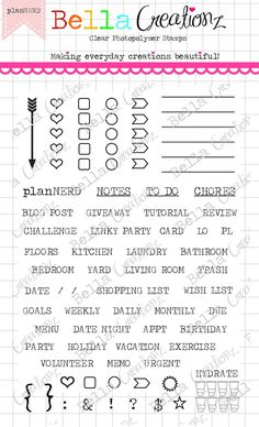"""Planner Stamp Clear Stamp Set """"planNERD"""" - Perfect for your planner, organizer, Filofax, calendars, lists, journalsetc. $12"""