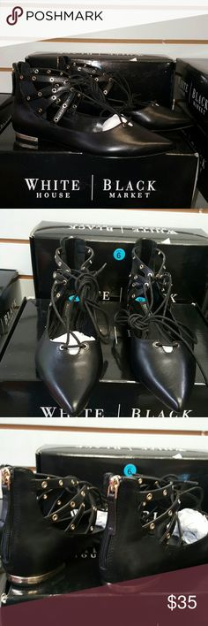 WHBM  Black Lace up Flats Black Leather pointed toe flat ankle tie with gold tie studs. White House Black Market Shoes Flats & Loafers