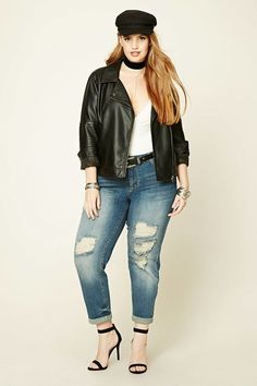 FOREVER 21+ Plus Size Distressed Jeans