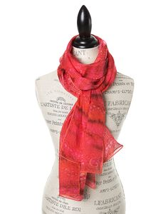 "SILK PRINT SCARVES FOR WOMEN IN LUXURIOUS SILK CHIFFON IN RED FIRE.  GŌBLE luxurious rectangular silk scarves elevate any outfit with the grace and artistry of trompe l'oeil. FABRIC & COMPOSITION 100% Silk Chiffon 20"" X 70"" (50cm x 178cm) GOBLE.CA"