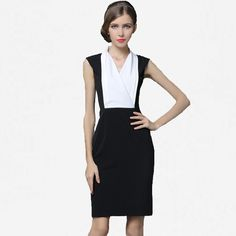DI ROMANCE classic wild large size ladies' fashion joker ol career temperament sleeveless vest splicing classic summer dress ** Click image for more details.