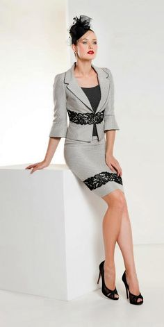 Grey Skirt-Suit with Black Lace Detailing