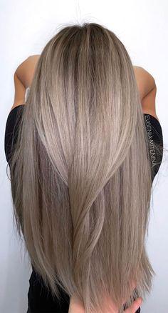 Brown Hair Balayage, Brown Blonde Hair, Hair Color Balayage, Hair Highlights, Darker Roots Blonde Hair, Cool Toned Blonde Hair, Medium Ash Blonde Hair, Cool Ash Blonde, Black Hair