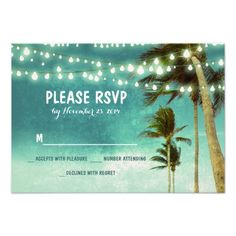 lights and palm trees beach teal wedding RSVP cards