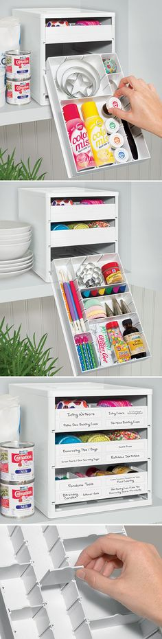 BakeStack Customizable Organizer // store all your baking needs in the one place with easy-access drawers! #product_design